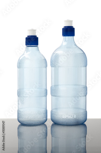 water bottles on white