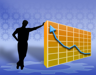 illustration businessman with growth chart