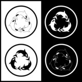 Vector killer whale icons. Black and white. Simply change. poster