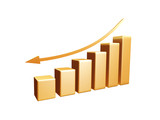 golden recession diagram with arrow isolated poster