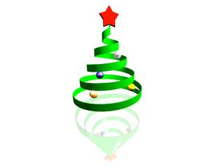 symbol og green christmas fur tree with red star and reflection