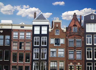 Row of houses and buildings in Amsterdam, the Netherlands