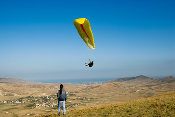 Paraplane in the sky of Crimea
