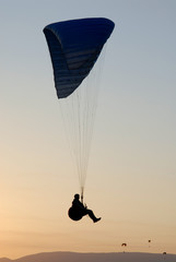 Silhouette of the paraglider pilot
