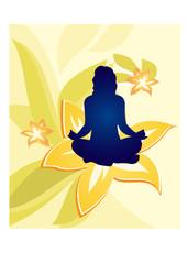 yoga floral woman vector