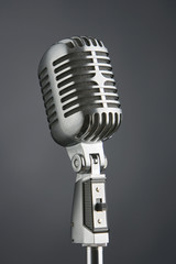 professional studio microphone on dark gray background