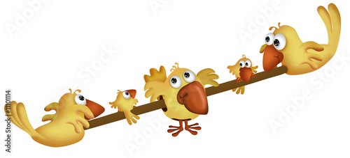 Yellow birds on a teeter board