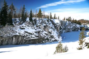 Winter Season on Marble Snowy Mountain