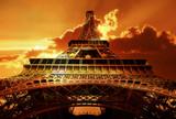 Eiffel tower on sunset-
