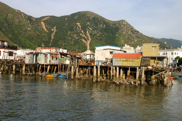 Houses in Tai O stilt village.A fishing village in  Hong Kong