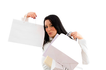 portrait of woman showing shopping bags on white background