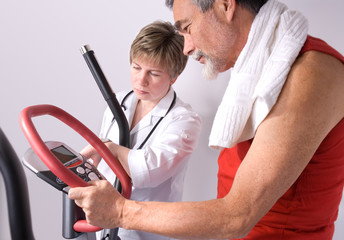 doctor checks the medical result of training