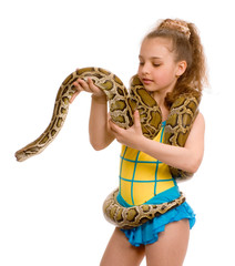 young girl with pet snake, isolated on white
