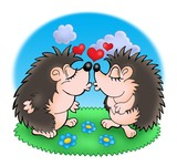 Two moles with hearts in grass poster