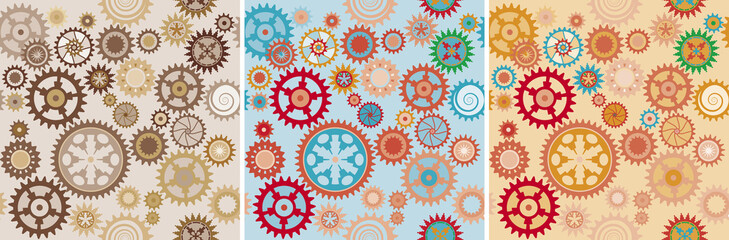 Clock cogwheels pattern set