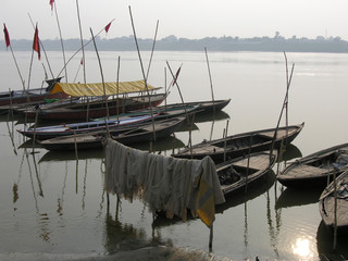 River taxis on the Ganges at Benares