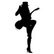 sexy girl with guitar silhouette vector