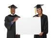 Man and Woman Graduation Sign