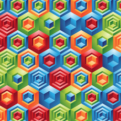Three Dimensional colorful geometric cubes fun background