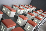 Workshop Seats with light letters