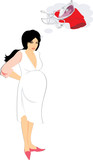 Expectant mother. There are not forces to stroke clothes. Vector poster