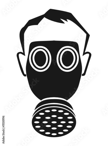 Gas Mask Silhouette Vector Person wearing gas maskGas Mask Silhouette Vector