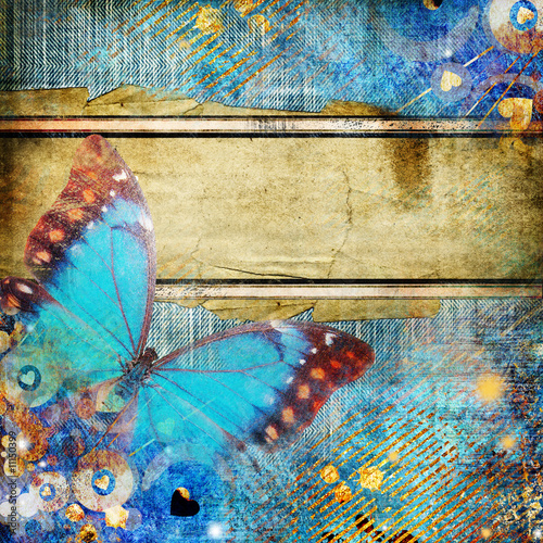Keuken foto achterwand Vlinders in Grunge vintage abstraction with butterfly