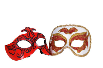 red and gold italian carnaval masks