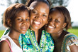 happy african mother and daughters