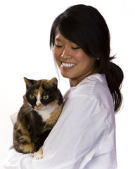 Attractive vet with a cat