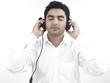 asian man of indian origin with his headphones