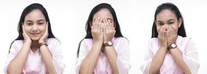hear no evil, see no evil, say no evil portrayed by a girl
