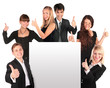 business people group with ok gesture and paper for text