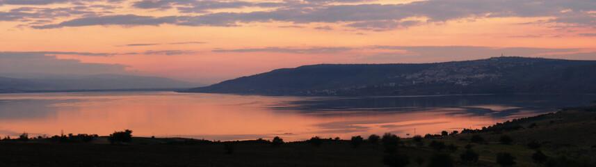 low light over sea of galilee israel