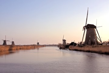 Ancient  windmills at Kinderdijk in the Netherlands