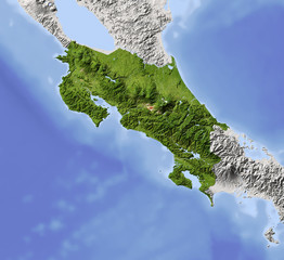 Costa Rica, shaded relief map, colored for vegetation