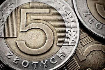 Polish coin extreme closeup