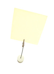 Yellow sticky note on clip