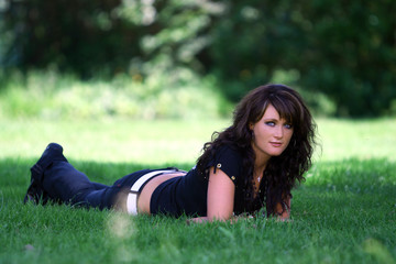 pretty woman in spring grass