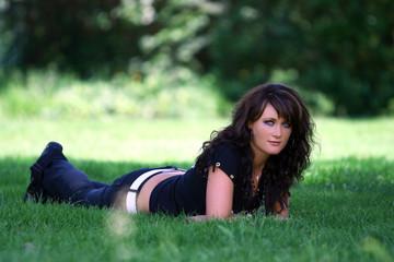 pretty woman in spring grass