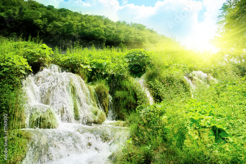 waterfall in deep forest - 11169592