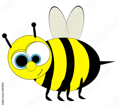 Bumble Bee Cartoon - Isolated on White