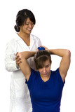 Physical therapist helps a patient poster