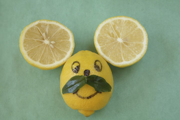 Lemon mouse face with mustache
