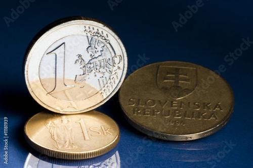 Euro with old Slovak koruna