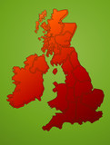 United Kingdom map on green vector poster