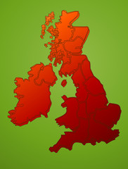 United Kingdom map on green vector