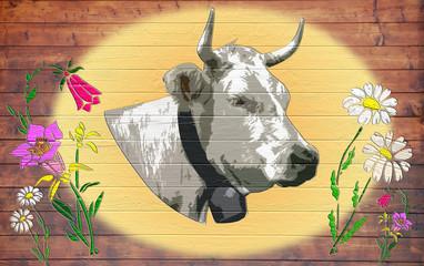 panneau vache de montagne