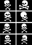pirate flags with skulls and crossbones vector illustration poster