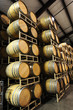 wine barrels in winery angle view